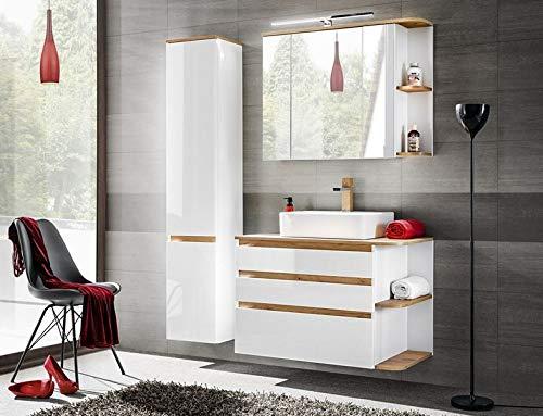 Jadella Badmeubelset 'Miami wit 90' badkamerset 4 TLG wastafel 90 cm eiken hoogglans wit met LED-verlichting