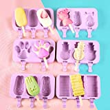 New Silicone Reusable Ice Cream Mold Popsicle Mold Cube Tray Frozen Diy Homemade Cartoon Ice Cream Popsicle Ice Maker Mold 6 Pieces