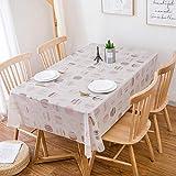 Ahuike Tisch Decke Wasserabweisend Lotuseffekt PVC Keine Falten Wiederverwendbar Tischtuch Fleckschutz Pflegeleicht Weiß 135×220cm