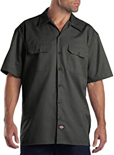 Dickies Men's Short-Sleeve Work Shirt, Olive Green, Large