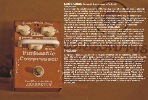 Sabbadius Custom Pedal Effects Compresor Funkastic