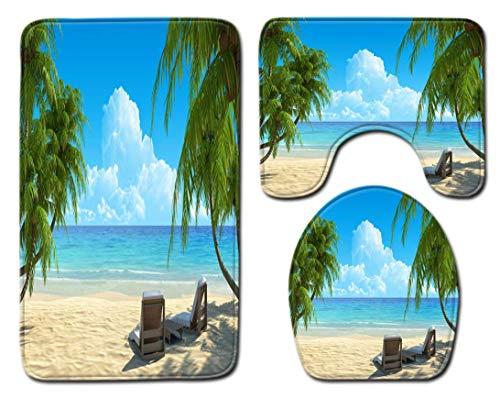 SCVBLJS Sunny Beach BathMats3PieceSetNonSlipToiletBathroomRugMatPedestalMatToiletSeatCoverMat