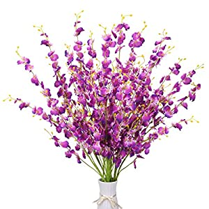 Artificial Orchids Flowers, 10 pcs Silk Fake Dancing Lady Orchids Flowers, Orquideas Flowers Artificial for Wedding Home Office Party Yard Decoration Restaurant Patio Festive Furnishing(Purple)