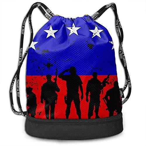 Venezuela Flag Soldiers Veterans Rucksack Kordelzug Sport Basketball Gym Bag