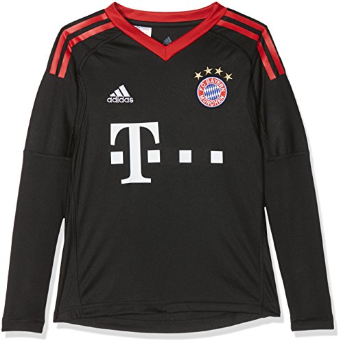 adidas Kinder FC Bayern Torwart Heim Langarm-Trikot, Black/FCB True Red/White, 176