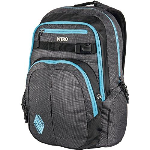 Nitro Chase Rucksack, Schulrucksack mit Organizer, Schoolbag, Daypack mit 17 Zoll Laptopfach, Blur Blue Trims, 35L