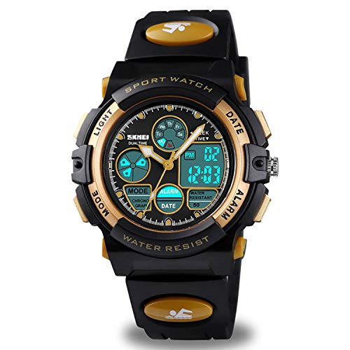 Kids Waterproof Watch Boys Girls with Alarm, Digital Sports Waterproof Watch for Kids Birthday Presents Gold Gifts Age 5-16 Boys Girls Children Young Teen Outdoor Electronic Watches Alarm Stopwatch