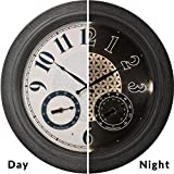 PresenTime & Co 18' Indoor/Outdoor Luminous Wall Clock with Thermometer & Hygrometer, Quartz Movement -Gray Stone Finish, Bright Warm Light Farmhouse Series
