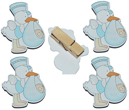 alles-meine.de GmbH 4 TLG. Set Deko Klammern aus Holz - Storch Baby mit Glitzer für Jungen - Dekoklammern - zur Geburt Kinderwagen Schnuller Babymotiv Taufe Babys Babys blau z.B...