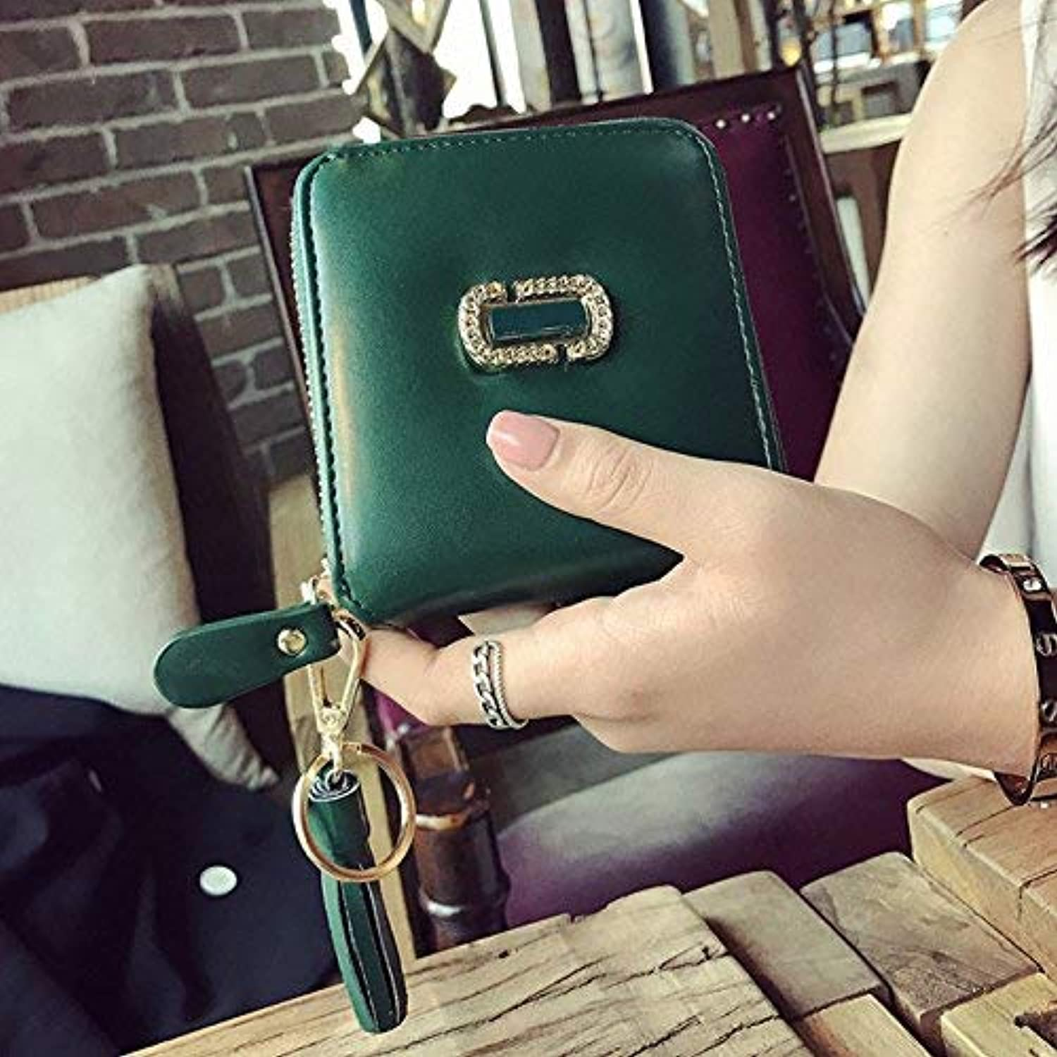 Girls Purse in The Summer of Package Simple Square, Short, Small Wallet Zipped WalletSu Mini Change Package (color   The Green)
