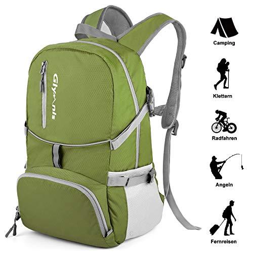 Glymnis Faltbarer Rucksack 30L Klein Tagesrucksack Ultraleicht Packable Rucksack Faltbarer Reiserucksack für Outdoor Wandern Reisen Damen und Herren (Dunkelgrün)