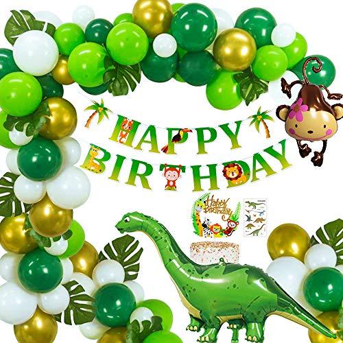 Selva Dinosaurio Globos,MMTX Fiesta de cumpleaños decoracion Chico, Birthday Bandera con Hojas de palma Verde Oro Globos Mono Globo para Niños Cumpleaños Festival Party Shower Decoración