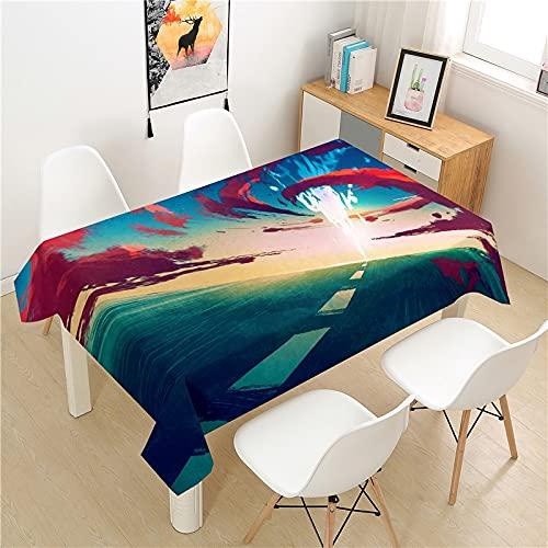 Mantel Impermeable Mount Fuji, Mantel Rectangular Lavable, Apto para Cocina, Comedor, Exterior e Interior M-4 140x200cm