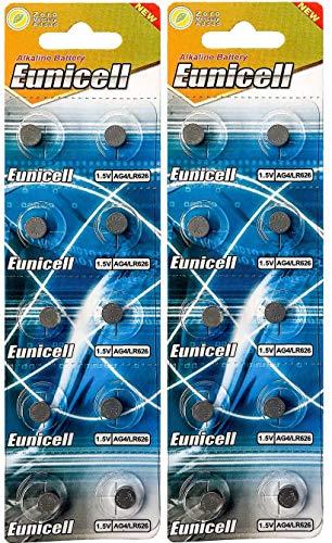Eunicell 20 x AG4 (Alternative Bezeichnung LR66, L626, LR626 (2 Blistercards a 10 Batterien) EINWEG Markenware