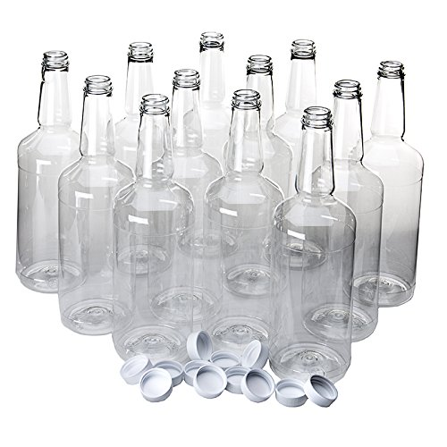 Dozen Long Neck Quart Plastic Bottles with Screw on Lids