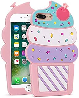 for iPhone 7 Plus Case, iPhone 8 Plus Cases, Funny 3D Cute Cartoon Cherry Cupcakes Pink Ice Cream Shaped Soft Silicone Case Bumper Back Cover for iPhone 7 Plus / 8 Plus (5.5