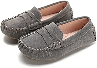 Battle Men Little Kids Penny Loafers Flat Heel Slip On Toddler's Shoes for Boys & Girls Causal Comfortable (Color : Gray, Size : 11.5 M US Little Kid)