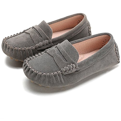 Battle Men Little Kids Penny Loafers Flat Heel Slip On Toddler's Shoes for Boys & Girls Causal Comfortable (Color : Gray, Size : 5.5 M US Toddler)
