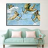 QWESFX Gott der Liebe Cupid Home Decor Bild für Wohnzimmer Wand ungerahmt Klassisches Europa Berühmte Leinwand Malerei Große Wanddekoration (Druck ohne Rahmen) E 60x120CM