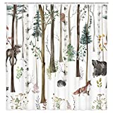 Rustic Forest Shower Curtain for Bathroom, Rustic Lodge Forest Cabin...