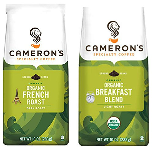Camerons Organic Coffee Variety Pack, 2 Organic Ground Favorites; Easy and Convenient Shopping For 2 Popular and Exotic Blends. Organically and Sustainably Sourced. THE Choice for Office, Home or Dorm