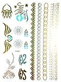 Oh My Shop tys83–Tagliere Tattoo Tatuaggio ephémère temporanea metallico Body Art simboli e braccialetti–Argento/Oro/Turchese
