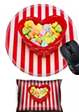 MSD Mouse Wrist Rest and Round Mousepad Set, 2pc Wrist Support Design 19081047 a Heart Shape Candy Dish Filled with Candies is on a red White Striped Background