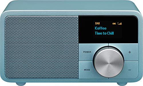 Sangean DDR-7 Original Mini dab + Radio - Tragbare UKW-Radio mit Bluetooth - Akustisches Holzschrank - blau