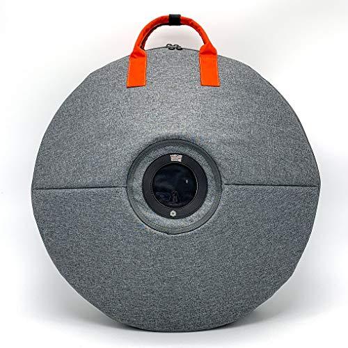 HCT New Style Gray Color Ergonomics Double Shoulder HANDPAN Bag Portable Steel Drum Hard Case Thicken HandPan Cover Backpack (Orange Handle Strap)