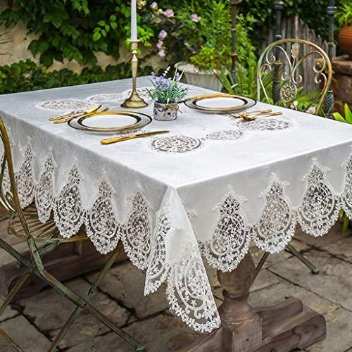 Nappes Blanche Dentelle Luxe Nordique Style Luxe Or Velours carré Rectangle Table Cover pour la décoration intérieure, fêtes d'anniversaire, réceptions de Mariage, Tables de Salle à Manger