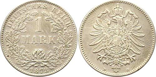 Silbermünze 1 Mark 1873 D ss+/vz Deutsches Reich - Kaiserreich - Kursmünze / Münze
