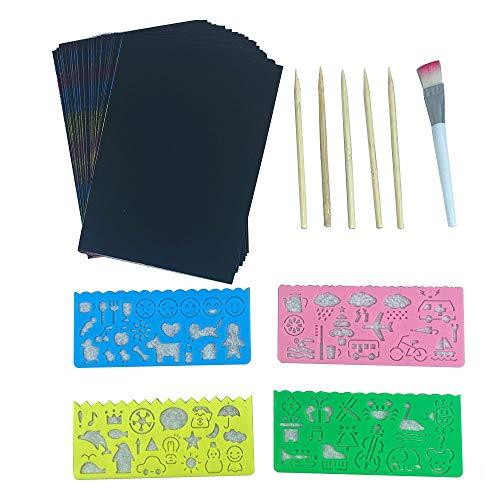 Ovtai Kratzbilder für Kinder, 60 Stück Kratzbilder Set Magie Kratzpapier für Kinder Spaß DIY Toy Party Favors Game Weihnachtsgeburtstagsgeschenk mit Masken und Kratzbilder Karten