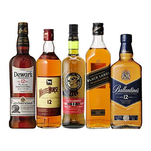 シングルモルト入り すべて12年もの!スコッチ5本セット シングルモルト ブレンデッド ウィスキー セット whisky set ギフト (Amazon出荷)