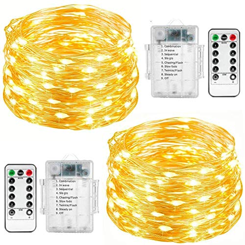 Fairy String Lights, 2 Set 33ft 100 Led Fairy Lights Battery Operated Copper Wire Lights with Remote Control, 8 Mode Waterproof Lights for Home Garden Bedroom Centerpiece Wedding Party (Warm White)