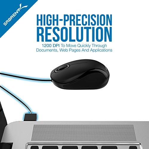 Sabrent Ratón óptico Mini USB de Viaje, con Cable retráctil (MS-OPMN)