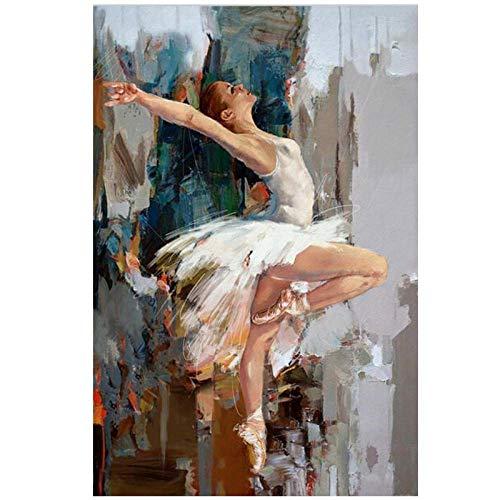 ASFDF Tanzen Ballerina Leinwand Malerei Berühmte Künstler gemalt Abstrakte Ballett Mädchen Wandmalerei Hochwertige Moderne Wandkunst Bilder drucken 50x70cm ohne Rahmen