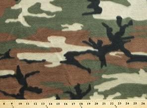 Woodland Camouflage Green Brown Fleece Fabric Print by the Yard ocamog