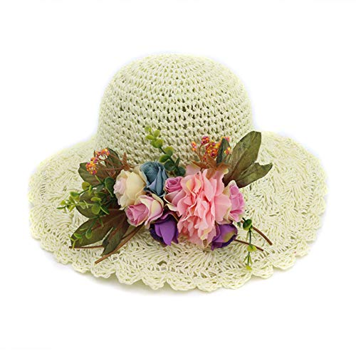 TYMDM Sonnenhut Handarbeit Gewebt Häkeln Frauen Sonnenhüte Mit Blumen Breiter Krempe Lady Sonnencreme Falten Weiblichen Strand Hut