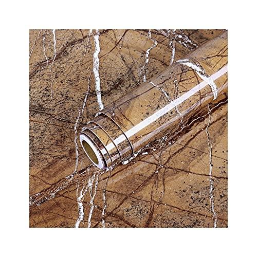 50 Typer Av Färg Självhäftande Marmor Tapet Stekt Och Pinne Vattentät Badrum Köksskåp Klistermärken Hem Dekoration Film (Farbe : Marble Brown, Maße : 40cm x 1m)