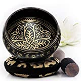 Tibetan Singing Bowl Set ~ Easy to Play with New Dual-End Striker & Cushion ~ Creates Beautiful Sound for Holistic Healing, Meditation & Relaxation ~ Spring Pattern ~ Black Bowl with Black Pillow