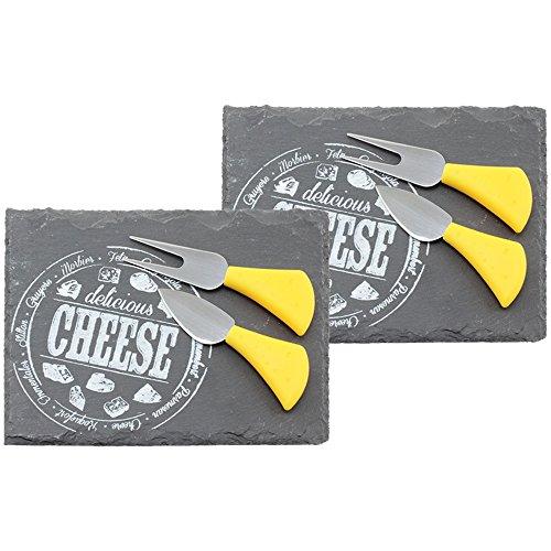 COM-FOUR 2x Tabla de quesos con cuchillo para quesos - tabla de pizarra natural - tabla de quesos con tenedor y cuchillo para quesos de acero inoxidable - aprox. 22 x 16 cm (02 piezas cuadradas)