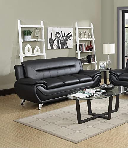 7 star Max sofa 3 Seater or 2 Seater in Black and Grey Faux Leather with Chrome silver legs (Black, 3 Seater)