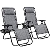GUNJI Zero Gravity Chair Outdoor Lawn Folding Lounge Chairs Adjustable Reclining Patio Chairs Set of 2 with Cup Holder Lounge Gravity Chairs for Poolside, Backyard, Beach and Camping (Gray)