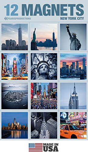 Set of 12 New York Refrigerator Magnets In Elegant Packaging Inside Crystal Clear Bag. Style 12S-4. Our Fridge Magnets are Made In USA.