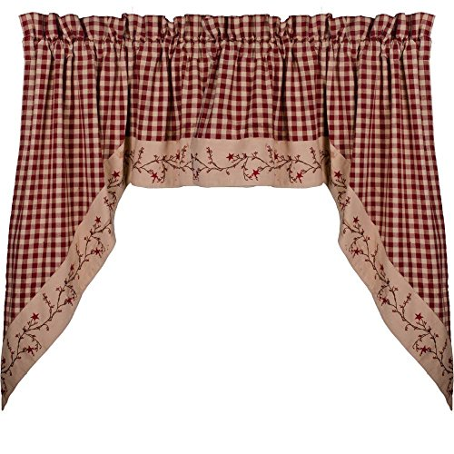 """Primitive Home Decors Star Berry Vine Check Barn Red 72"""" x 36"""" Lined Cotton Swag"""