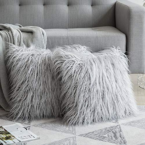 MIULEE Fluffy Cushion Cover Faux Fur Throw Soft Solid Decorative Square Plush Mongolian Cute Pillow Case For Sofa Bedroom Car 18 x 18 Inch 45 x 45 cm Silver Set of 2