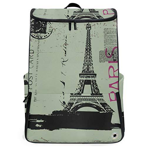 FANTAZIO Reise Laptop Rucksack Eiffelturm Postkarte Durable College Schule Computer Bookbag für Outdoor Camping passend bis Notebook