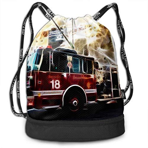 Sporttaschen, Rucksäcke,Men & Women Premium Polyester Drawstring Backpack Fire Truck Shoulder Bags Theft Proof Lightweight for Traveling Soccer Baseball Bag Large for Camping, Yoga