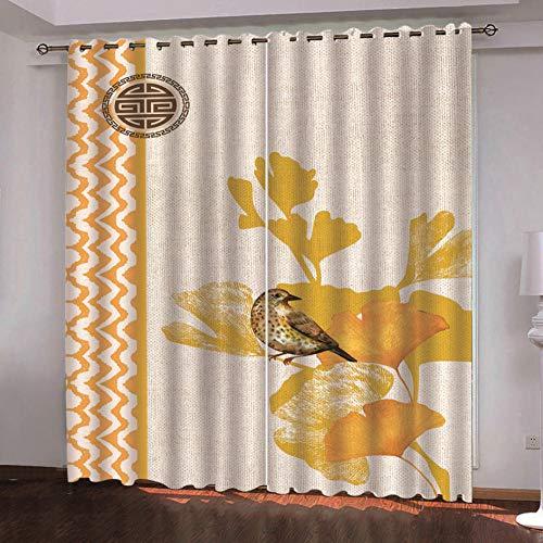 QDDRL Gordijnen voor de woonkamer, set van 2, ondoorzichtig gordijn met ogen, geluidsisolatie, slaapkamer, kinderkamer, moderne raamdecoratie, vliegende dierenvogel, gele bloem