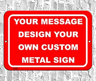BA IMAGE Personalized Custom Red 001 Aluminum Metal Sign with Your Message (12x18 Red w/White, Horizontal)